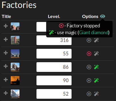 Changed factory stop and scroll settings